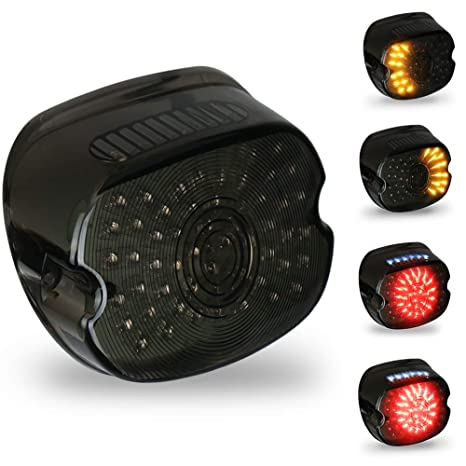 Amazon.com: OVOTOR Smoked Harley LED Tail Light Lay Down Tail Lamp on