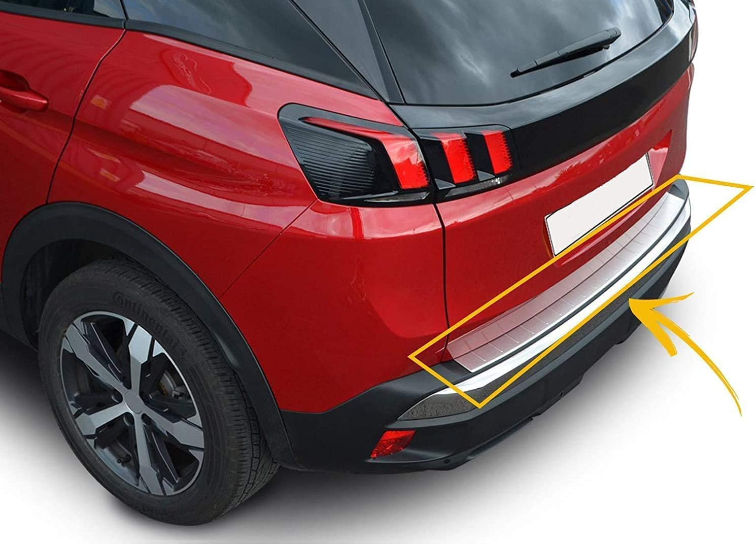 for Peugeot 3008 2016 UP Stainless Steel CHROME Rear Bumper Protector Sill Anti-Scratch Guard Cover