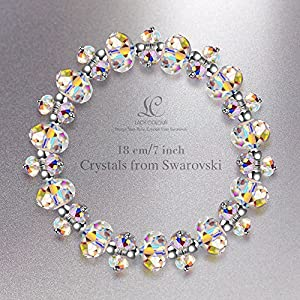 LADY COLOUR Mother's Day Jewelry Gifts, When in Rome Bracelet for Women, 7 inch Crystals Stretch Bracelet Made with Swarovski Crystals, Encounter Your Romance Hypoallergenic Jewelry Gift Box Packing
