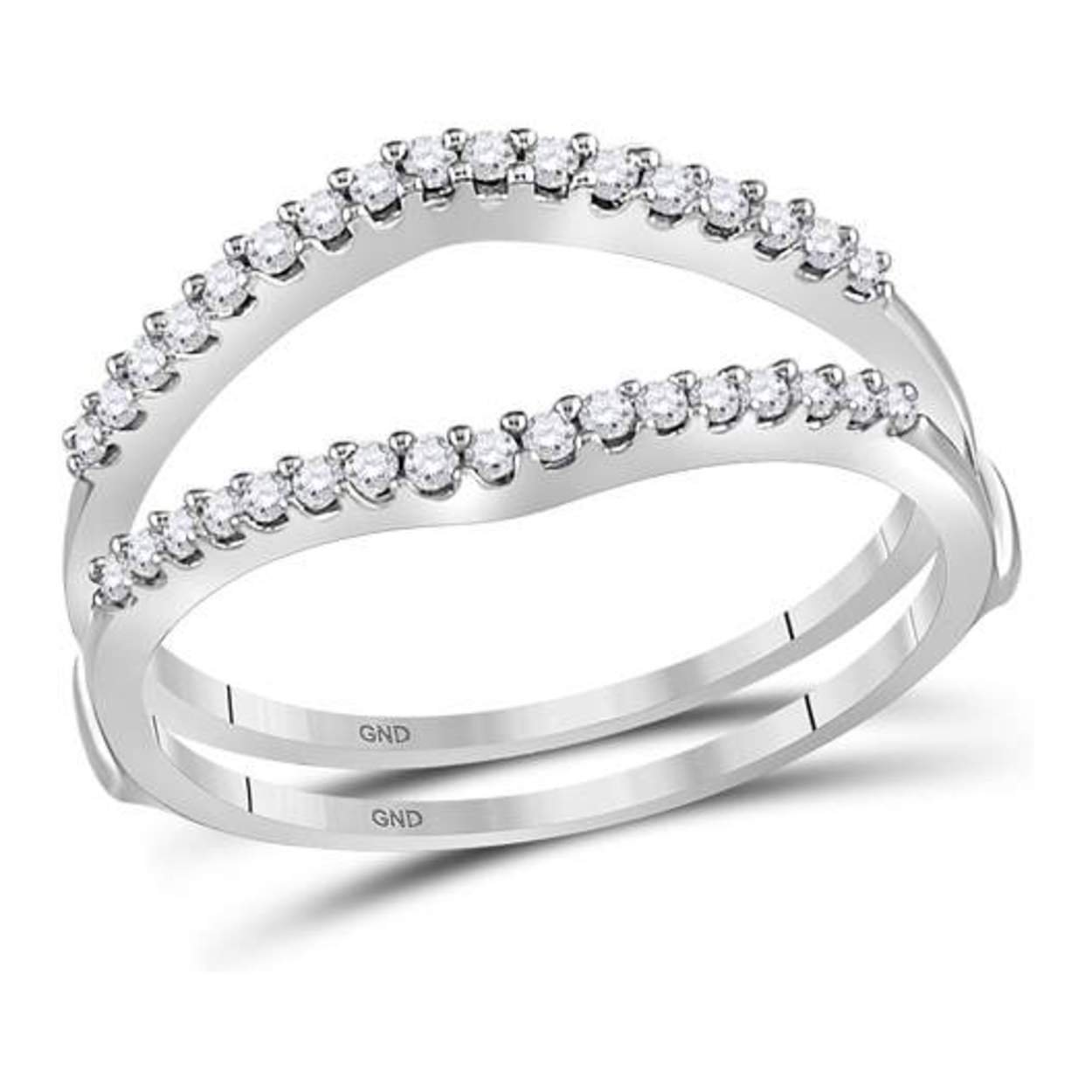 0.25 cttw 14k White Gold 1/4 cttw Real Diamond Ring Guard Wrap Enhancer Wedding Band 8.5mm 14k White Gold Size 6