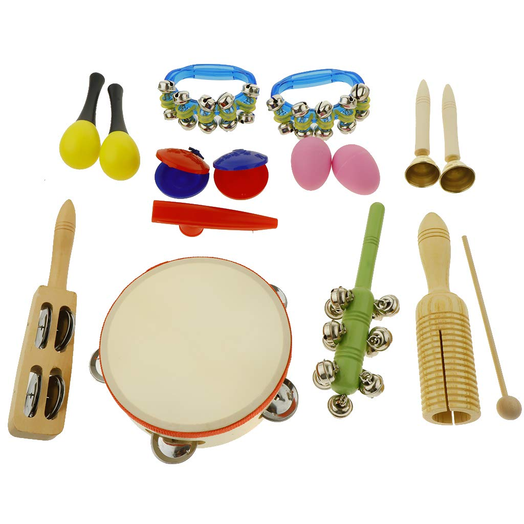 kesoto 16pcs Toddler Musical Instrument Toy Set, Tambourine & Maracas & Crow Sounder and More for Kids Children Music Party Toy by kesoto (Image #3)