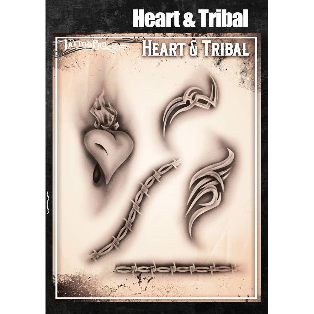 Tatuaje Pro Series Plantillas 4 - corazón y tribal: Amazon.es: Hogar