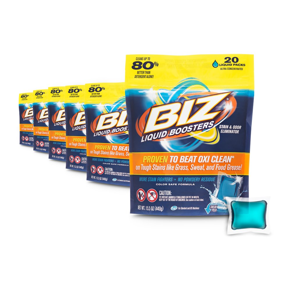 Biz Laundry Detergent Liquid Boosters, Stain & Odor Removal - 20-Count