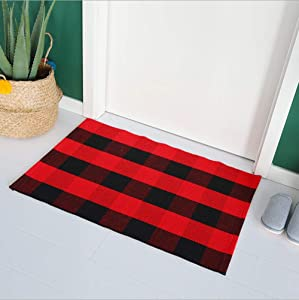 Wolala Home Black&Red Buffalo Plaid Checkered Porch Rug Hand Woven Rugs with Non-Slip Pads for Kitchen/Bathroom/Entry Way/Indoor/Outdoor Porch Area Rug Machine Washable (2'x4'3)