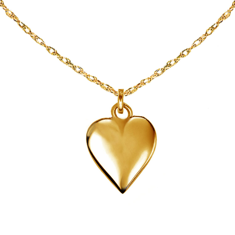 Ritastephens 14k Yellow Gold Mini Puffed Heart Charm Pendant Chain Necklace