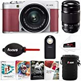 Fujifilm X-A5 Camera with Lens. Software, and Accessory Bundle (w/ XF55-200mm, Pink)