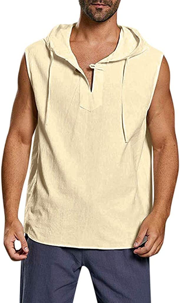 ASOBIMONO Mens Hipster Sleeveless Hoodie Casual Solid Cotton Linen T Shirts Plus Size Tank Top