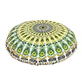 MANDALA FLOOR PILLOW CUSHION SEATING THROW COVER HIPPIE DECORATIVE Bohemian Ottoman Poufs, Pom Pom Pillow Cases,Boho Indian (Yellow)