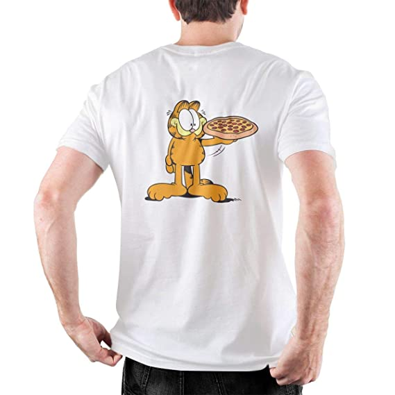 Buy Bflc Garfield Eat Pizza Unisex Loose Fit Short Sleeve Crewneck T Shirts Cotton Xxl White At Amazon In