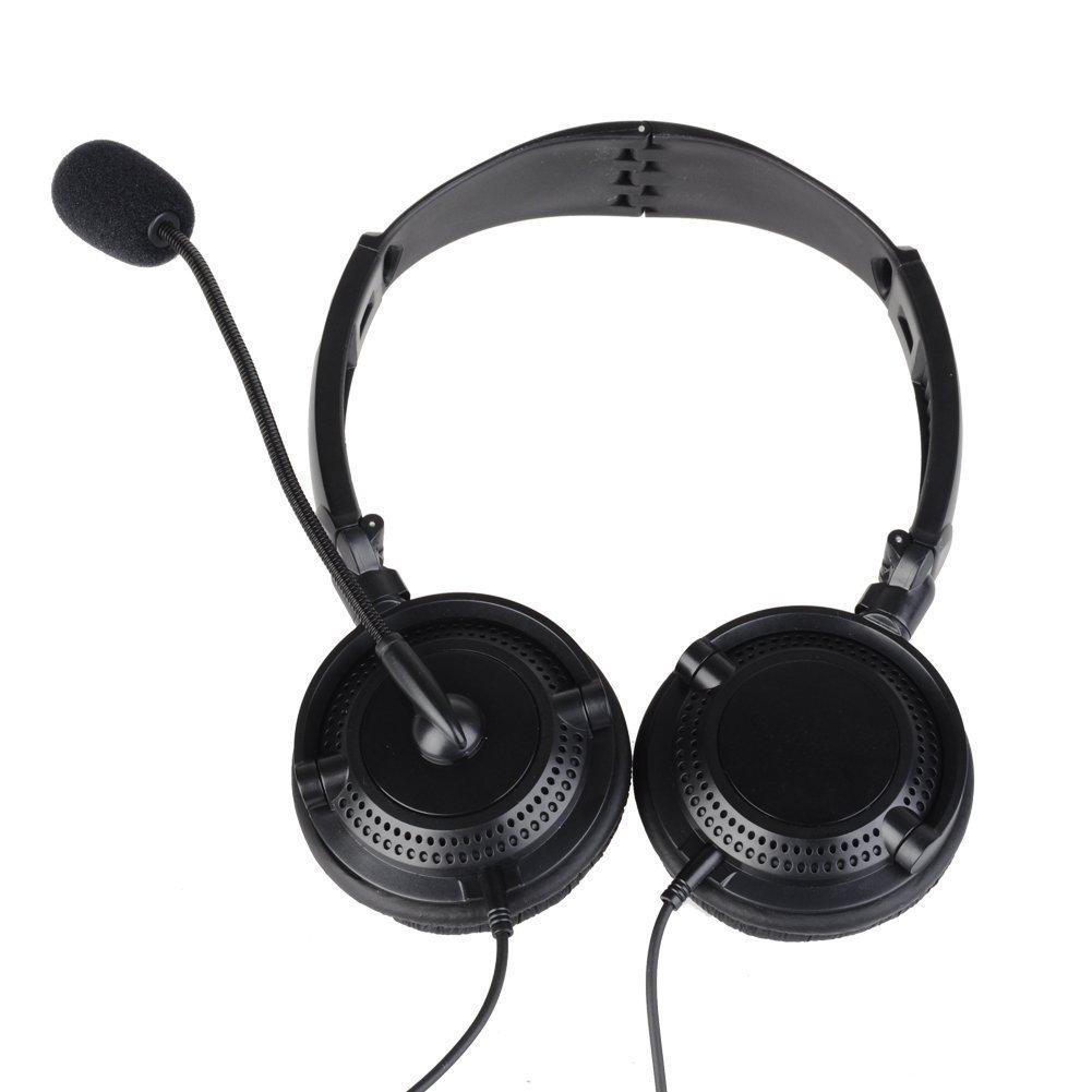 HKSUNKIN Double Earmuff VOX Headset Helmet Earpiece Foldable Overhead Noise Cencelling for Kenwood TK-2107 TK-2118 BAOFENG BF-777s BF-999
