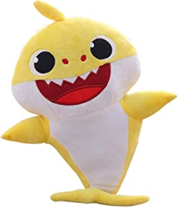 JIAHAO Children's Soft Toy Shark Baby,Singing and Lightening Baby Shark Plush Doll,is The Best Gift for Boys and Girls(Yellow)