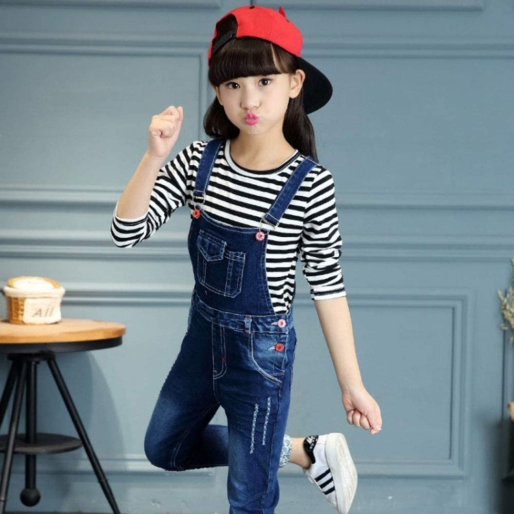 Blue LAVIQK 3-13 Years Big Girls Kid Adjustable Strap Long Jeans Cotton Suspender Denim Bib Overalls