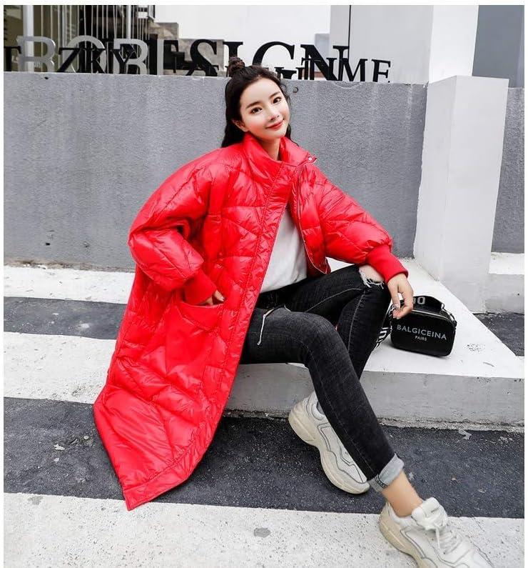 HSDFKD Invernale Donna Cappotto in Cotone con Calda Addensare Cotone Outwear Lunghezza Media Allentata rosso