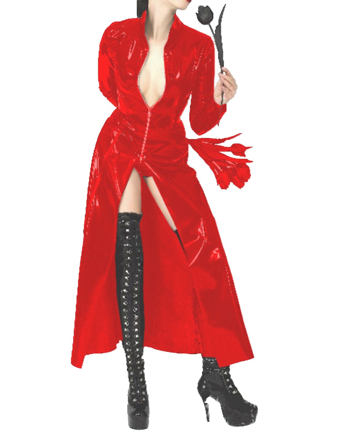 CHICTRY Women/Man's Shiny Metallic Leather Turtleneck Trench Coat Long Jacket Red X-Large
