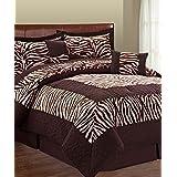 Serenta 6 Piece Animal Style Bed in a Bag Set, Queen, Lotus Pink Zebra