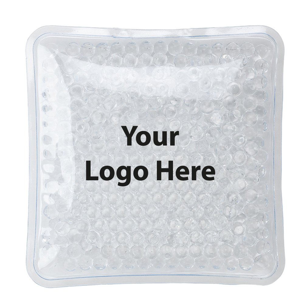"Therapeutic Square Gel Bead Hot/Cold Packs - 400 Quantity - $1.25 Each - Bulk Promotional Item Branded with Your Logo / Customized. Size: 3-3/4"" per side."