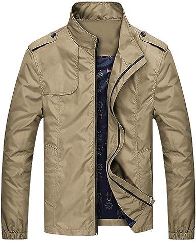 YOUTHUP Mens Lightweight Jacket Stand Collar Casual Summer Jackets Zipper  Military Windbreaker Khaki: Amazon.co.uk: Clothing