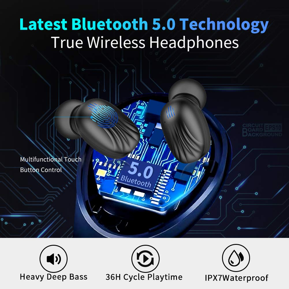 Wireless Earbuds, TWS Bluetooth 5.0 Wireless Headphones Auto Pairing【Wireless Charging Case】 IPX7 Waterproof Bluetooth Earbuds Built-in Mic 3D in-Ear Earbuds with Deep Bass Stereo for Running Sport by CTLYF (Image #2)