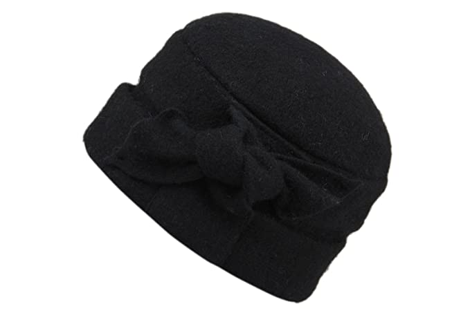 Dantiya Women s Wool Warm Bucket Hat Sleeve Head Cap Beanie Hat with Bow ( Black) db1e4ce99895