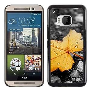 El extremo de una hoja marchitada - Metal de aluminio y de plástico duro Caja del teléfono - Negro - HTC One M9