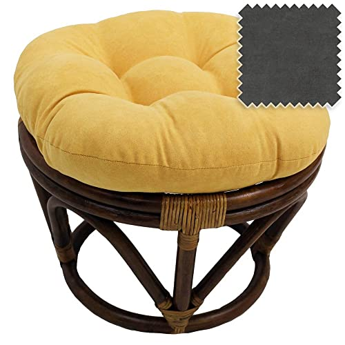 DCG Stores 18-Inch Bali Rattan Papasan Footstool with Cushion – Solid Microsuede Fabric, Gray Exclusive