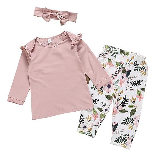 e440e1b3fc3e Amazon.com  Infant Newborn Baby Girl Ruffled Sleeve Pink Top Shirts ...