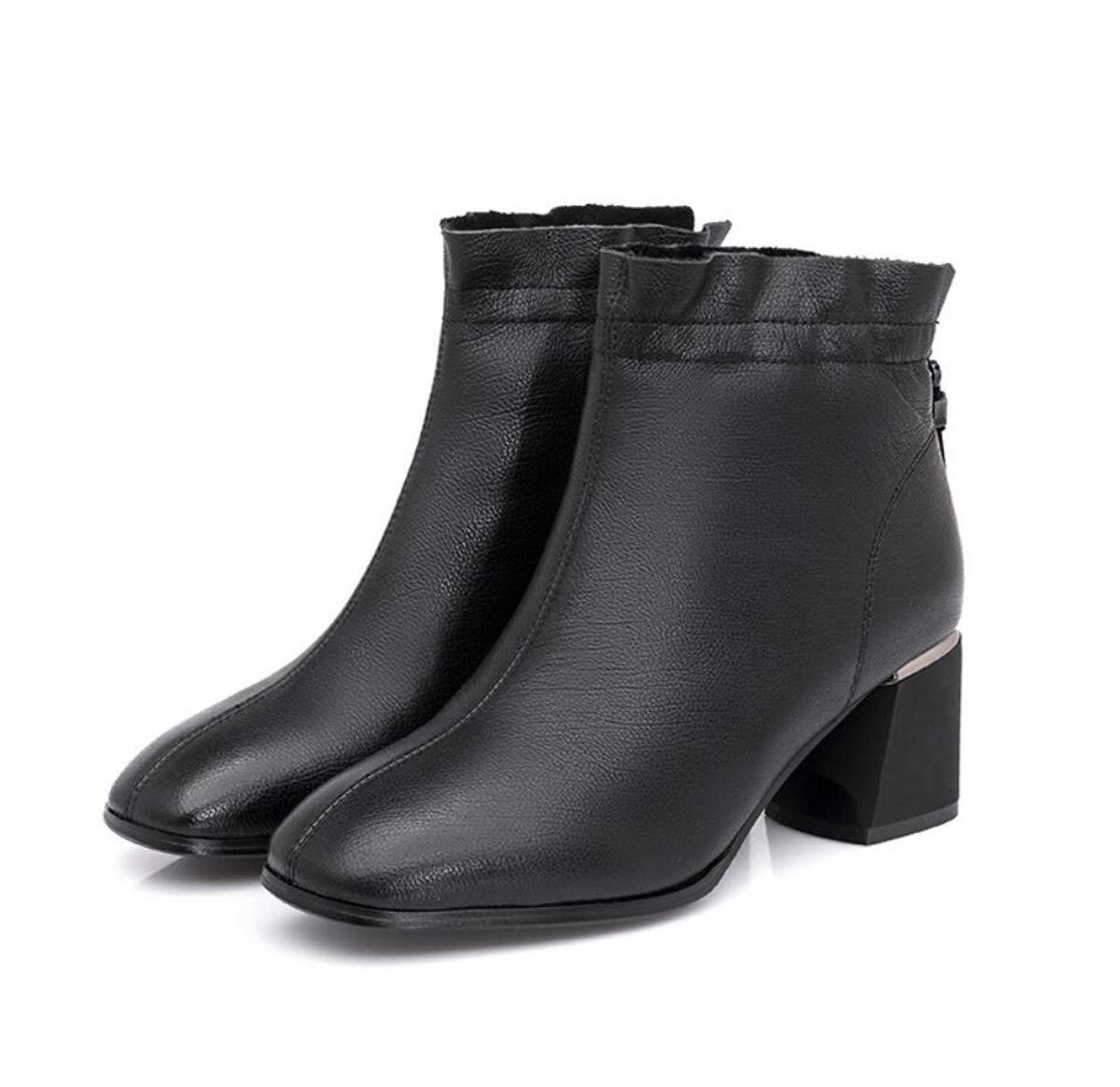 女性チェルシーアンクルブーツジッパーブロックヒールレディース英国スタイルマーティンブーツ 黒 37EU