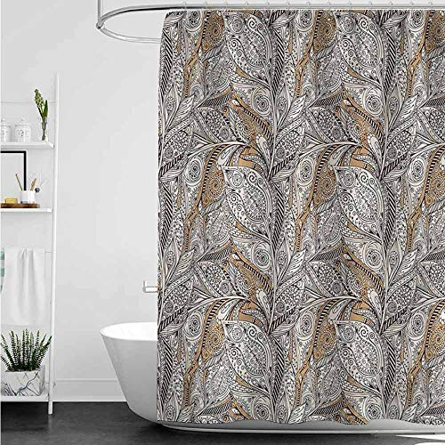 (homecoco African Shower Curtains for Bathroom Paisley,Vintage Plant Pattern Batik W48 x L72,Shower Curtain for Men)