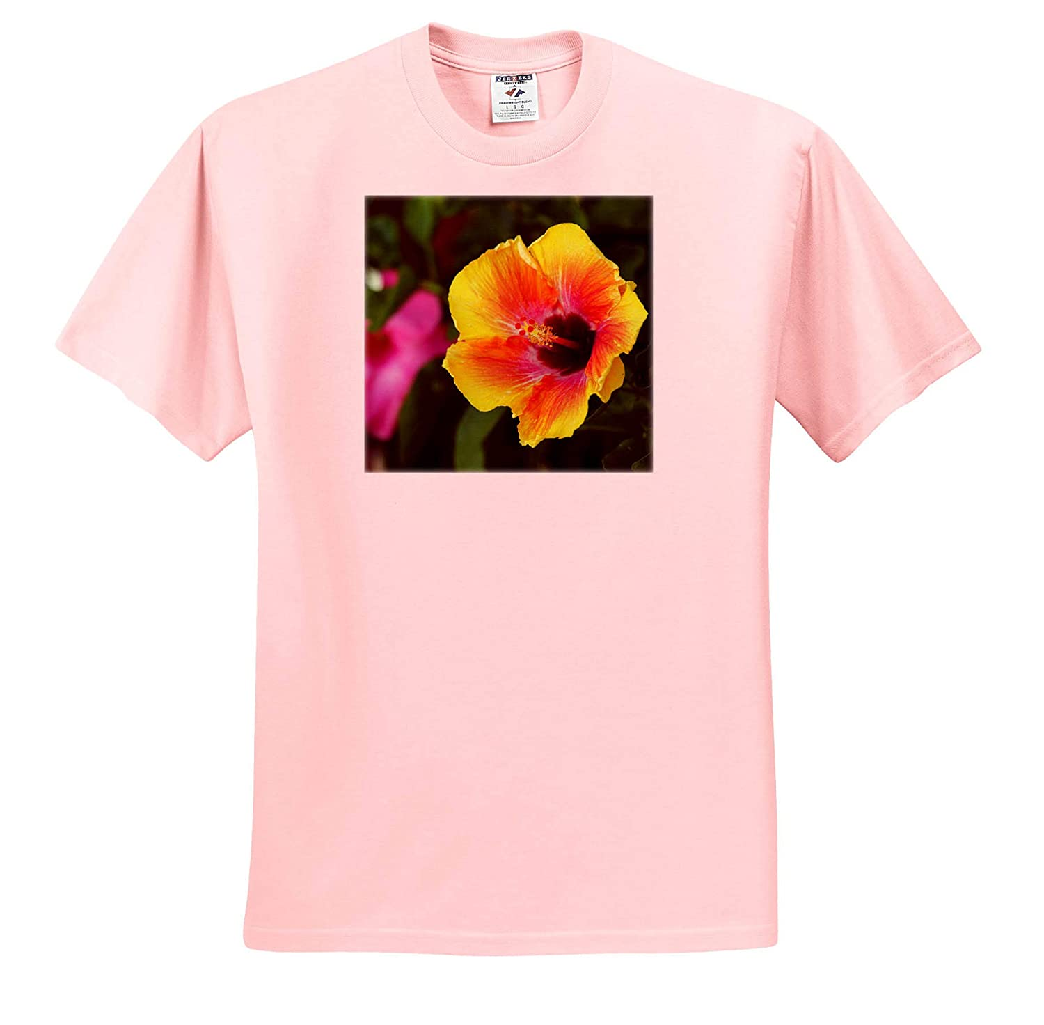 Flowers - T-Shirts 3dRose Stamp City Photograph of Beautiful Tropical Hibiscus and mandevilla Flowers