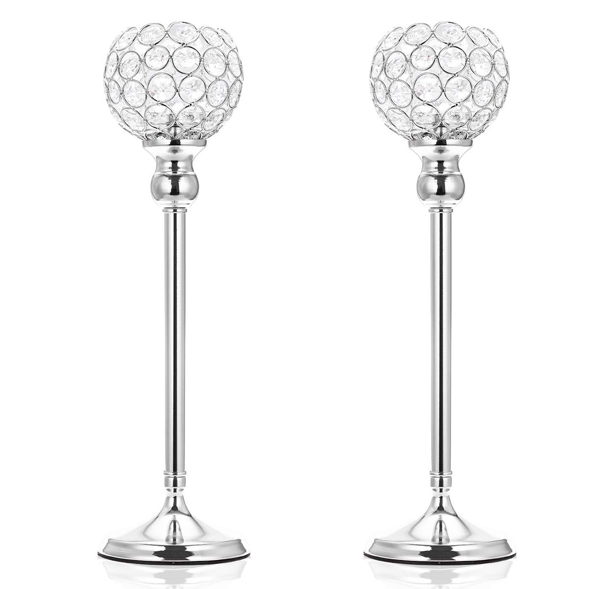 ManChDa Valentines Gift Silver Crystal Spherical Candle Holders Sets of 2 Wedding Table Centerpieces for Birthday Anniversary Celebration Modern Decoration (Large, 15.8'')