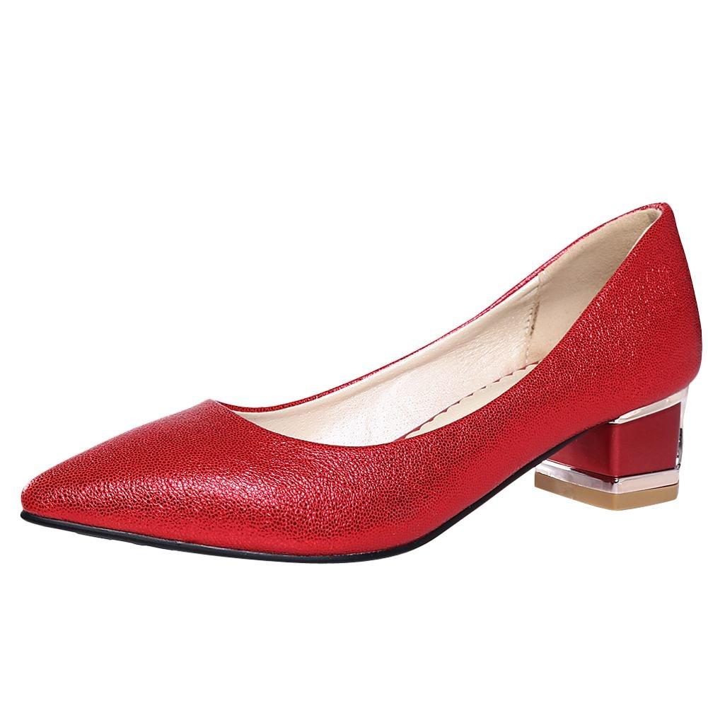 Mee Shoes Damen chunky heels Geschlossen spitz Pumps  34 EU|Rot