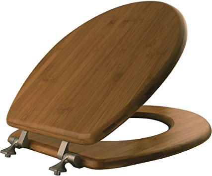 MAYFAIR 9401NI 568 Solid Bamboo Toilet Seat with Brushed Nickel ...