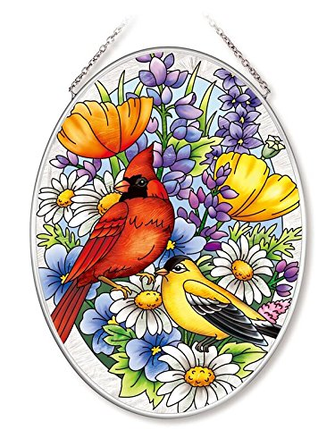 Oriole Garden (Amia Garden Oriole Cardinal Glass Oval Suncatcher (42563))