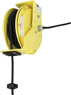product image for KH Industries RTB Series ReelTuff Industrial Grade Retractable Power Cord Reel with Black Cable, 12/3 SJOW Cable, 20 Amp, 50' Length, Yellow Powder Coat Finish