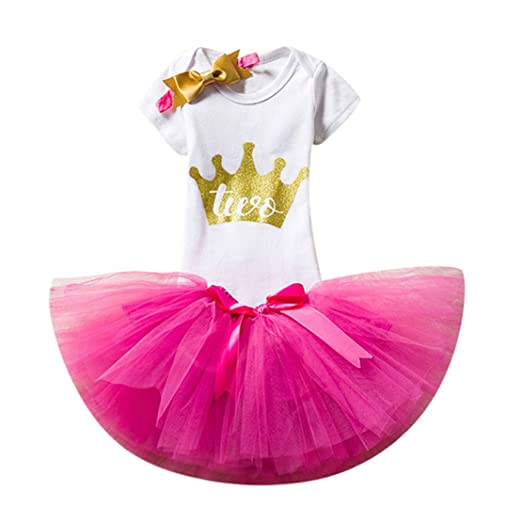 398c407e4af7 ZHANGVIP Toddler Kids Baby Girls 2Years Old Birthday Lettera Printed  Jumpsuit Romper Tutu Skirts Outfits Clothes