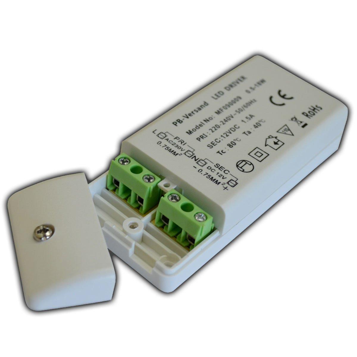 PB Versand - Trasformatore G4 DC per luce Led, da 12 V, 0, 5-18 Watt. 18.00 wattsW, 12.00 voltsV PB-Versand®