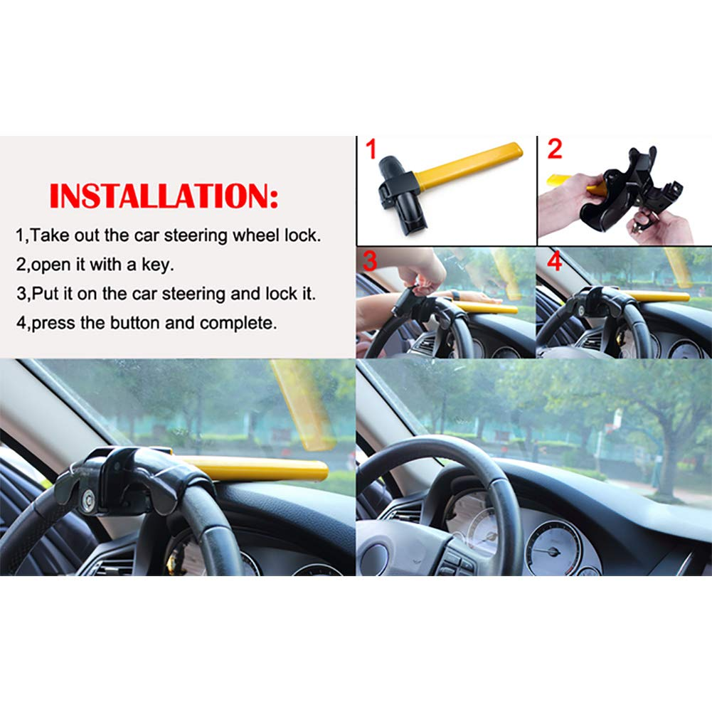 Universal Anti-Theft Car Auto Security Rotary Steering Wheel Lock Suitable for car Trucks etc. 35 * 16cm