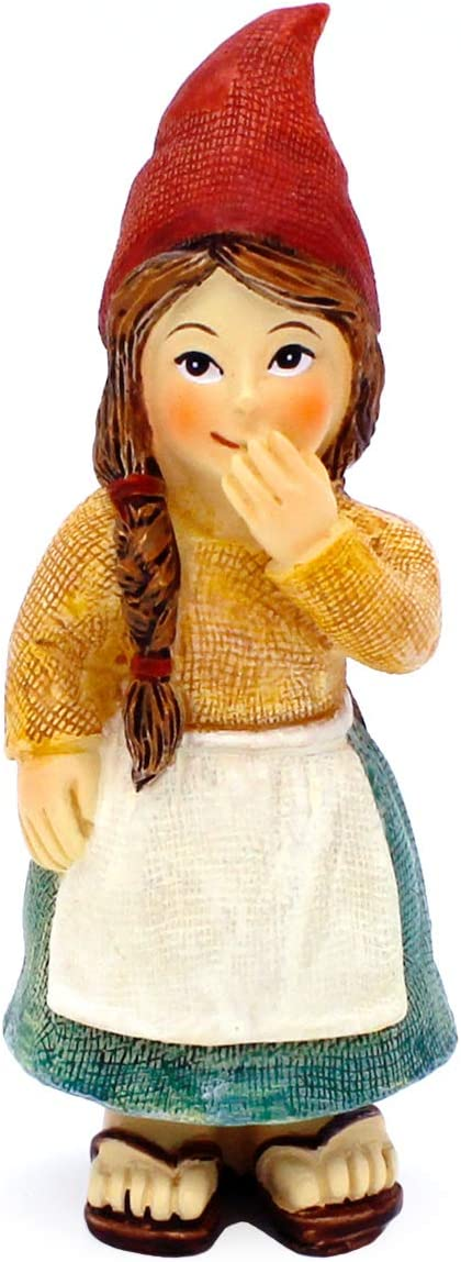 Fairy Garden Lady Gnomes - Miniature Lady Gnome Figurines for Fairy Gardens (Laughing Lady Gnome)