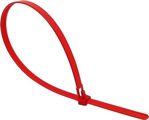 Intervisio Kabelbinder Wiederverschließbar 350mm X 7 5mm Rot 100 Stück Wiederlösbar Wiederverwendbar Baumarkt