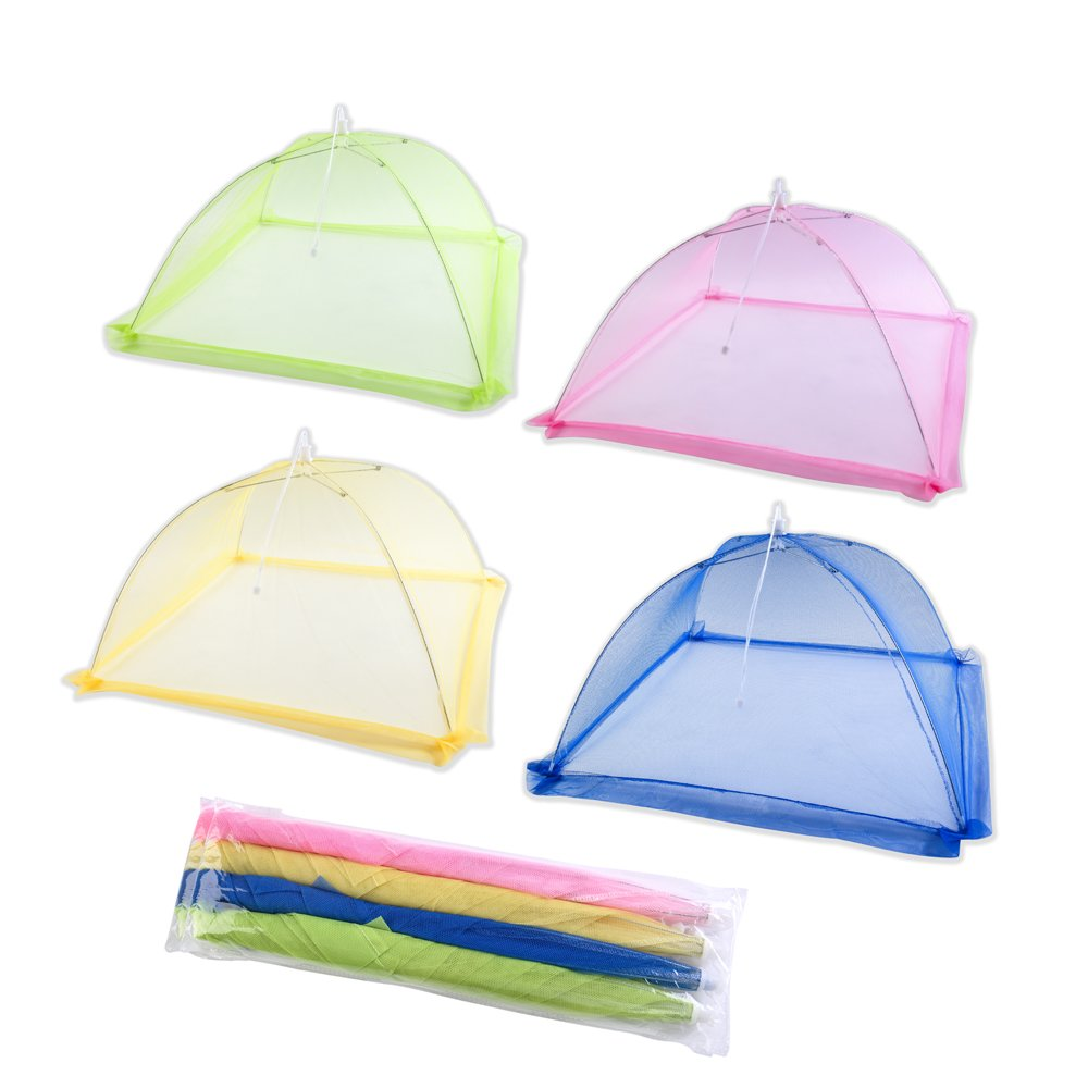 [Upgrade Metal Frame and Tight Mesh Material]Ilyever 4 Pack Food Cover Tent with Extra Bottom Band,Large Collapsible Pop-Up 17'' Mesh Cover Protect Your Food and Fruit From Flies and Bugs at Picnics