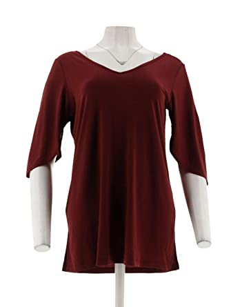 f7a6427afdd7f Iman Runway Chic Luxurious Split-SLV Tunic Stretch Knit Burgundy 3X New  569-295