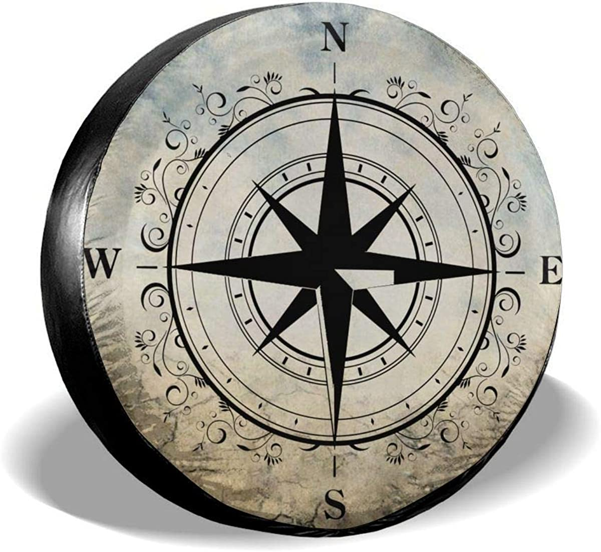 SUV and Many Vehicle RV CENSIHER Spare Tire Cover Polyester Nature Mountain Compass Waterproof Universal Spare Wheel Tire Cover Fit for Jeep,Trailer
