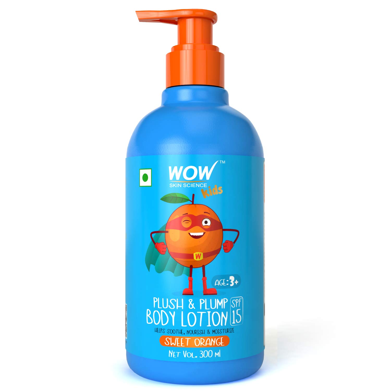 WOW Skin Science Kids Plush & Plump Body Lotion - Sweet Orange - SPF 15 - No Parabens, Mineral Oil, Silicones & Color, 300 ml