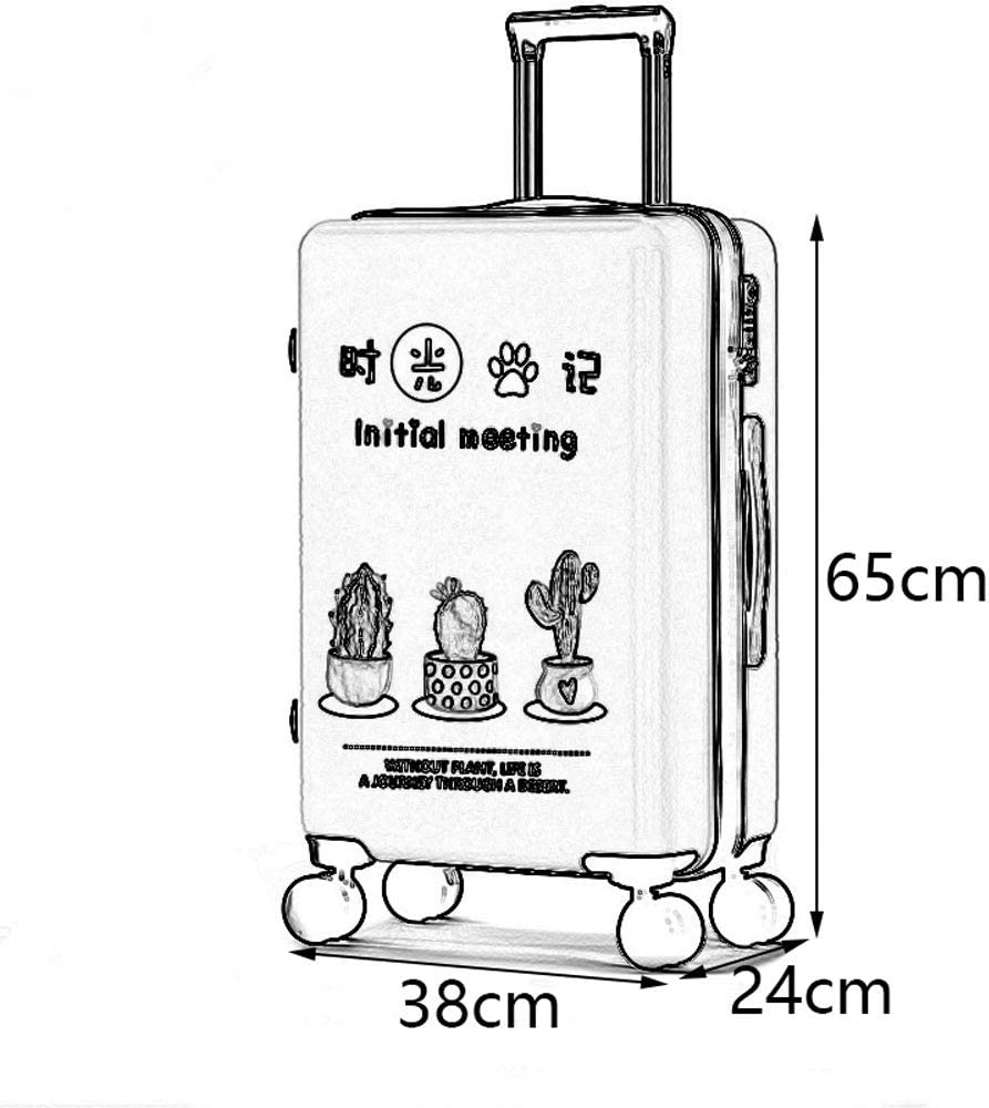 5 Patterns Optional ///& TSA Custom Code Lock Frosted Pearlescent Surface Personality Student Creative Plant Travel Large Capacity Trolley Case YD Luggage Set Trolley Case ABS//PC
