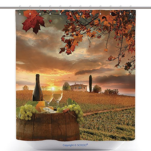 Fun Shower Curtains White Wine With Barrel On Vineyard In Chianti Tuscany Italy 153627902 Polyester Bathroom Shower Curtain Set With Hooks