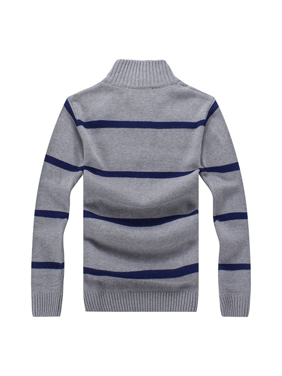 Men's Slim Fit Long Sleeve Stand Collar Striped Cotton Knitted Half Cardigan