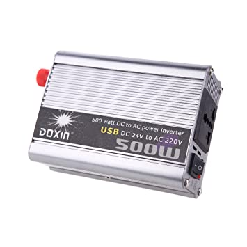 Amazon.es: KKmoon 500W Inversor de Corriente de Coches Car Power Inverter DC 24V a AC 220V + USB Transformador Voltaje Portable