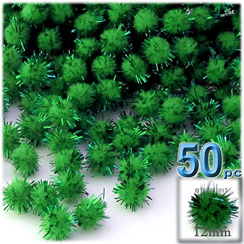 The Crafts Outlet Chenille Sparkly Pom Poms, Green Porcupine, 0.5-inch (12-mm), 50-pc, Emerald Green