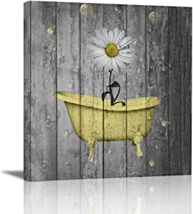 "Ale-art Rustic Floral Canvas Wall Art For Home Bathroom Decorations Yellow Gray Daisy Flower Bubbles Modern Giclee Bathroom Pictures Wall Decor Framed Ready to Hang 12""x12"""