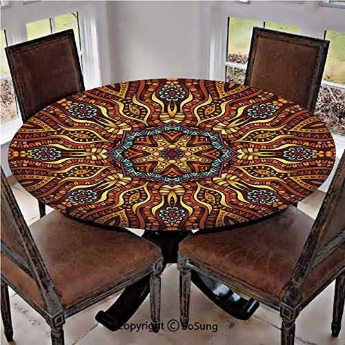 Elastic Edged Polyester Fitted Table Cover,Ethnic Mosaic Like Kaleidoscope Design with Floral Swirls Image Decorative,Fits up 56